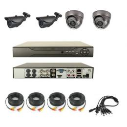 4CH H.264 DVR with 2pcs 700TVL Waterproof CCD Cameras and 2pcs Dome CCD Cameras