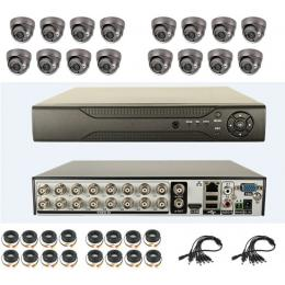 16CH H.264 DVR Kit with 16pcs Dome CCD Cameras