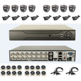 16CH H.264 DVR Kit with 8pcs Dome CCD Cameras and 8pcs waterproof Cameras